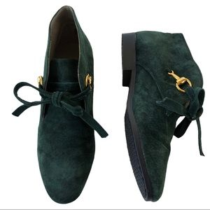 The Leather Collection Suede Booties Green Sz. 5.5